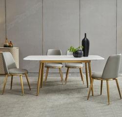 이탈리아 스타일의 골드 스테인레스 스틸 6개의 의자, 대리석 식탁