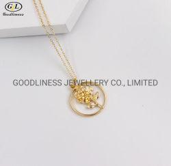Nuovi collana d'argento della pianura di fascino della moneta del fiore della Rosa dei monili di modo 925 di prezzi all'ingrosso per la signora
