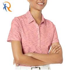 Women's Spacedye Heathered Short Sleeve polo de golf de 94% Polyester, 6% Spandex Rtm-021