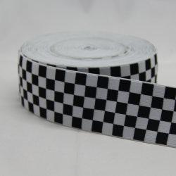 Custom Nylon preto branco Chequer Design Tecidos Jacquard tecido elástico