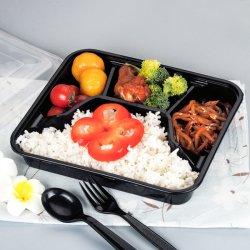 주문을 받아서 만들어진 4 격실 식사 Prep 콘테이너 음식 저장 처분할 수 있는 마이크로파 Bento 도시락