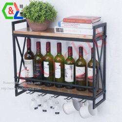 Wand-Montierung legt Buch-Regal-Wein-Zahnstangen-an der Wand befestigte Wein-Bildschirmanzeige-Zahnstange mit der 5 Stamm-Glashalter-zusätzlichem Aufhängungs-Wein-Glas-Buch-Blumen-Aufhängungs-Haken-Organisator beiseite