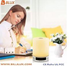 Lumière LED tactile portatif haut-parleur sans fil Bluetooth stéréo Bass Réveil TF Lecteur de musique aux lampes de table des feux de nuit