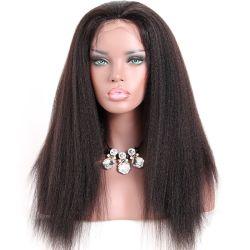 Conexão Reta Kinky Full Lace Cabelo humano Perucas Remy Brasileiro italiano de cabelo Yaki Full Lace Perucas