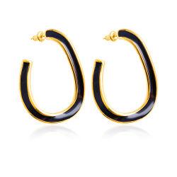 Acero Inoxidable 316L joyas de oro 18K esmalte negro geométrica pendientes