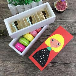 Hueco Macaron de verificación de la Navidad Cupcake recipiente de cocción de embalaje de chocolate de San Valentín Macaron de Paquete de papel de embalaje cajas torta