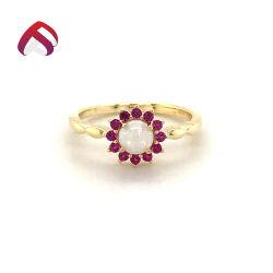 Nuevo diseño de Plata de Ley 925 de la moda de joyería Ópalo blanco Anillo con piedras redondas