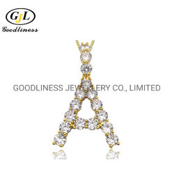 Commerce de gros hommes bijoux personnalisés 925 Sterling Silver Hip Hop Diamond Lettre Poignée de commande