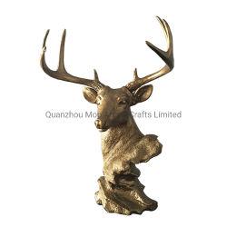 [فوإكس] أيّل رأس صدر برونز حيوانيّ تمثال سطح طاولة جزء أساسيّ دار حضانة مجوهرات حامل [ستغ] رأس كسارة نحت