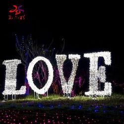 Festival en plein air de la rue de Noël de décorer la 3D'amour de la forme d'éclairage de motif
