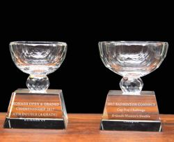 Bol en verre blanc prix de l'entreprise de gravure au laser Le sablage au jet Sport Coupe du trophée de cristal