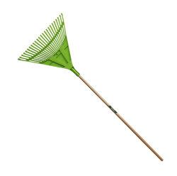 Herramientas de jardín 24t de la cabeza de Plástico PP Rastrillo Rastrillo de hojas de hierba con mango de madera