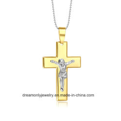 المجوهرات يسوع الصليب القلادات amp قلادات الذهب لون كبير من دون يصدأ مجوهرات رجال العقد مع قلادة الصليب الفولاذي