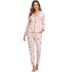 여자 소녀 봄 가을 온난한 학생 면 과일 인쇄 Sleepwear 잠옷 잠옷 세트