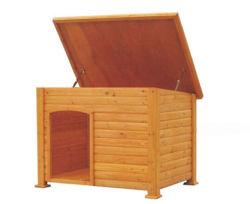 階段が付いている木の家の形のドアペットベッド