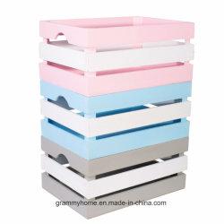 Coloridas cajas de madera Caja de almacenamiento de juguetes de niño recién nacido, Cuadro de estantes de regalo de Navidad