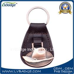Förderndes Metall-PU-lederne Schlüsselkette mit Ring