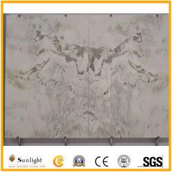 Haut Bookmath onyx blanc pierre polie pour téléviseur mur de fond/projets de décoration intérieure
