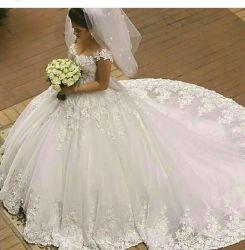 Boda trajes de lujo Ball 3D Flores Puffy mangas de la tapa de vestidos de novia W201794