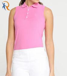 Sade sem mangas de camisa Polo Workout T Shirt Senhoras Ginásio Treinamento Desgaste de Golfe Rtm-036
