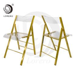 Nuevo diseño moderno Eventos de parte del bastidor de acero inoxidable acrílico claro silla de comedor plegable