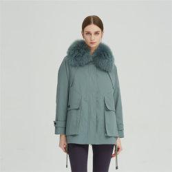 Vrouwen″ kort afneembaar Konijn Fur Liner Fox Fur kraag Winter Jas