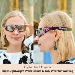 Diseño de la señora Safeyear anti niebla Rosa Gafas de seguridad con el cuello