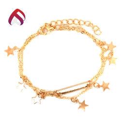 925 de style en vogue de bijoux en argent sterling avec Star Bracelet Chaîne en plaqué or pour la femme