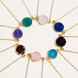 La moda de la cadena chapado en buen deseo de las niñas de la tarjeta de resina de Boutique de señora ronda colgante, collar de joyas para mujer