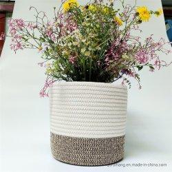 Cuerda de algodón de la sembradora Cestas para las plantas de interior, el almacenamiento canasta para artesanías, juguetes y toallas decoración cesta tejida cubierta de macetas de interior