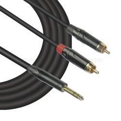 2 RCA на 6,35 мм Trs разъем аудио кабель RCA Y-кабель (FYC11)