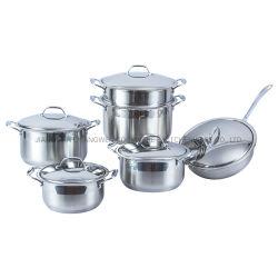 Het Gebraden gerecht PanCookware van de Keuken van de Bodem van de Capsule van het Toestel van het huis 11PCS met de Pot van de Stoomboot