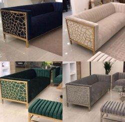 Luxuxantike-Laser schnitt klassischer Edelstahl-heißes Verkauf drei Seater Sofa-Set