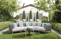Acero inoxidable y Textilene impermeable silla y mesa sofá esquina exterior, patio exterior de aluminio juego de comedor Muebles viable