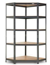 Nivel 5 de la Unidad de esquina estanterías. Estantería de metal, acero y MDF Boltless estantes