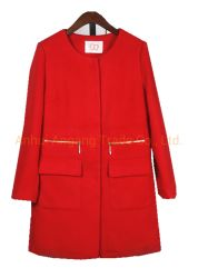 Der rote mittlere Graben-Mantel-Umhüllung Länge Zippered Frauen