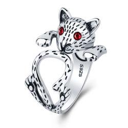 Мода элегантные женские украшения свадьбы подарок панк хип-хоп леди группа потребителей творческие очаровательный красного кристалла Cat отверстие кольца