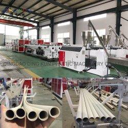 630مم PVC CPVC UPVC / HDPE / PE PPR أنبوب إنتاج خط الأنابيب ثنائي ومخرج برغي أحادي / ماكينة صنع البلاستيك الطرد لإمداد الماء/الغاز