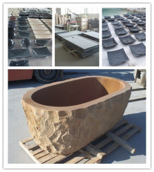 Vasca da bagno di pietra di marmo del basamento/indipendente intagliata mano acquazzone del granito/per la mobilia della vasca di bagno della stanza da bagno