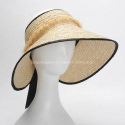 夏の日曜日保護大き縁のリボンが付いている自然なRaffiaの麦わら帽子のバイザー