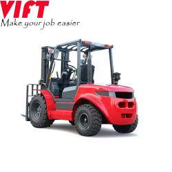 Certificação Ce 3,5 ton Diesel todos os Terrenos Irregulares carro com uma cabine de pneus fora de estrada, a altura de elevação opcional 5m (4WD), Mastro triplo Câmera para visão traseira de mudança lateral