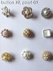 Bello tasto del metallo di modo con la perla di cristallo di Reihnstone