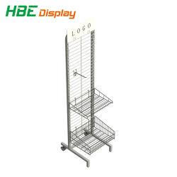 Suporte de monitor de exposições de lado único gancho para pendurar na parede de grade de arame em malha estantes Rack com a cesta
