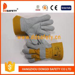 Kuh-aufgeteiltes Leder mit gelbe Baumwollarbeitssicherheits-Handschuh-Cer 4244