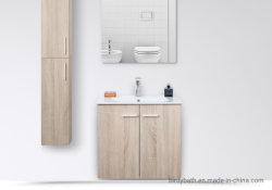 Luz penduradas na parede Oak armário de banheiro com bacia em cerâmica