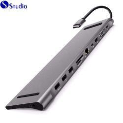 Concentrateur USB & C USB Hub multiports Docking Station 11 dans 1 Convertisseur de type C