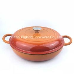 El esmalte de color naranja olla de hierro fundido cacerola cubiertos utensilios de cocina