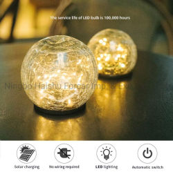 Lampe begrub des kupfernen Draht-30PCS mit Fühler-Raum-Knistern-Glas helle Knistern-Kugel-Solarhelles Crack Glaskugel-Garten-Bodensolarlicht