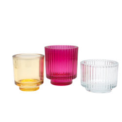 Portacandele in vetro colorato moderno, contenitore in vetro, vaso in vetro, custodia in vetro, decorazione in vetro, Artigianato vetro, decorazione di Natale