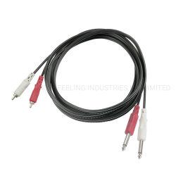 Kabel RCA-Handels V mit Audiostereolithographie-Stecker des verbinder-6.35 zu 2 RCA Jack (FAC05)
